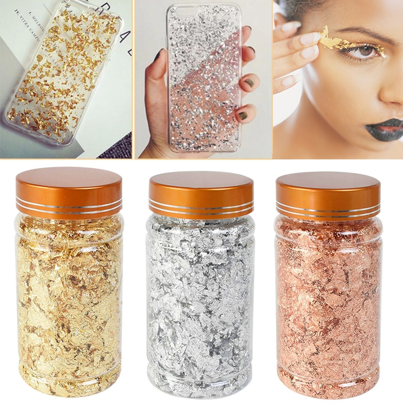 1 bottle Decorative Gold Leaf Flakes 3g Gold Silver Confetti DIY Nail Art Painting Material Decorating Foil Paper Party Supplies