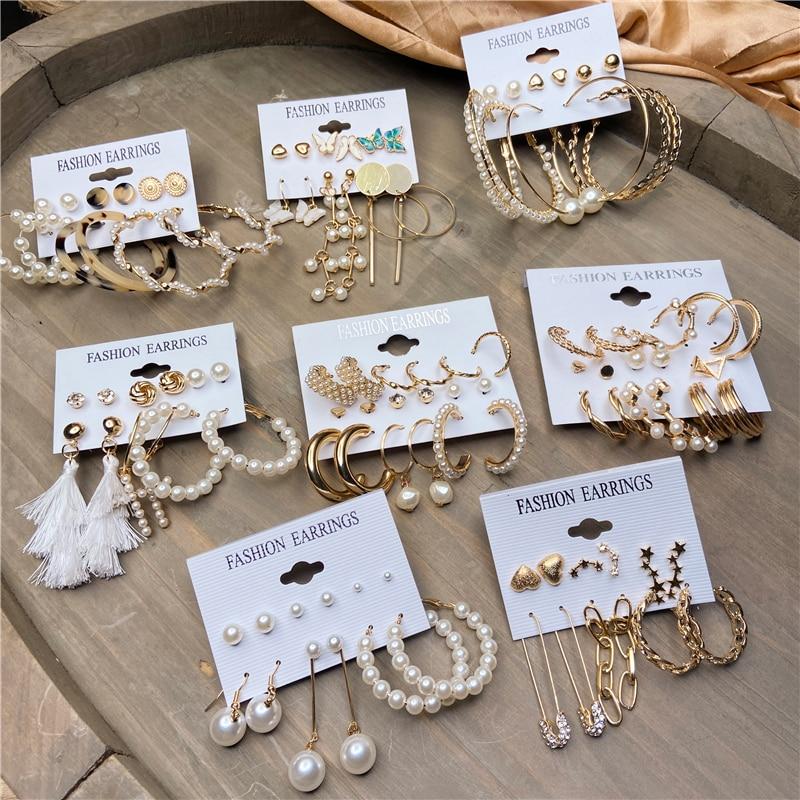 Fashion Gold Hoop Earrings Set Women Pearl Hoop Earrings Oversize Metal Circle Punk Earring 2020 Female Fashion Jewelry