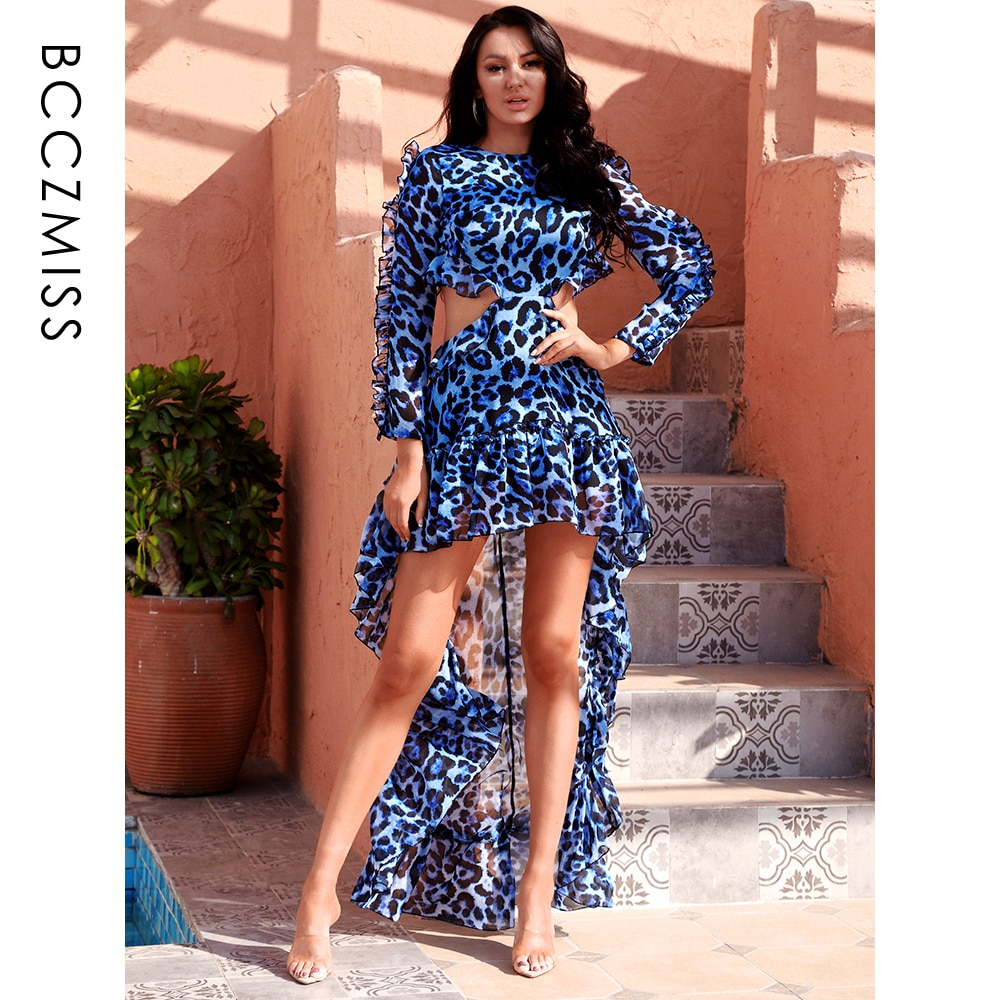 New Sexy Open Back Chiffon Cut Out Blue Leopard Long Sleeve Women's Dress 81503