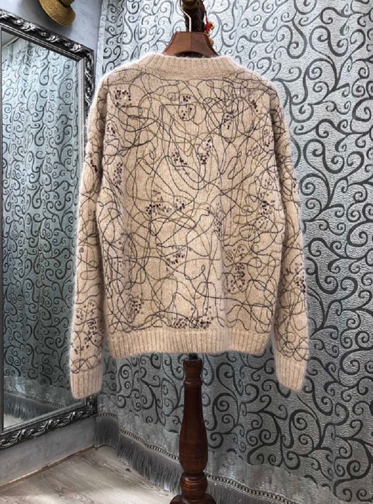 Plus size Sweaters 2020 Autumn Winter Wool Mohair Knitting Sequined Embroidery Deco Long Sleeve Casual Loose Sweaters Pullover enlarge