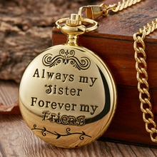 Luxury To My Sister Gifts Quartz Pocket Watch Forever Friend Present Luxury Gold Silver Black Steamp