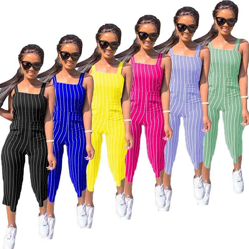 Solid Color Striped Print Tank Top Rompers Summer Women Jumpsuit European and American Hot Style Model One Piece star and stripe print tank top