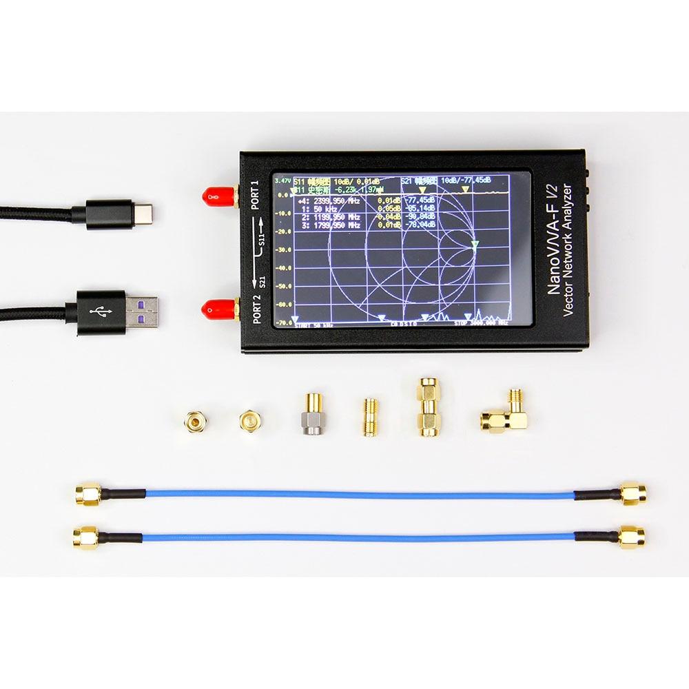 NanoVNA-F V2 3G VNA Vector Network محلل SWR متر 4.3 بوصة IPS TFT, محلل هوائي UHF HF VHF بطارية 5000mAh