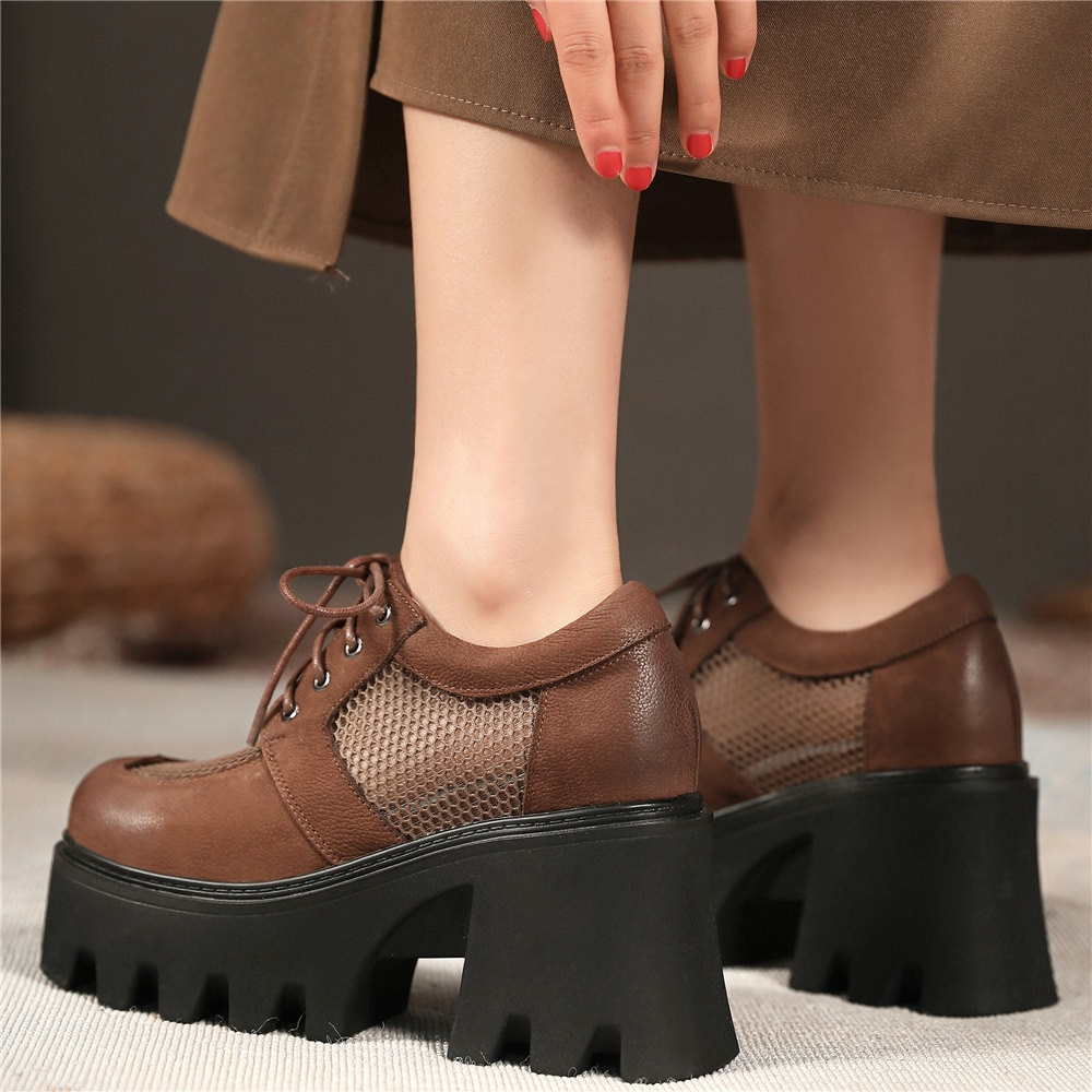 2021 Women Breathable Genuine Leather Chunky High Heels Military Ankle Boots Female Square Toe Platform Pumps Shoes Casual Shoes  - buy with discount