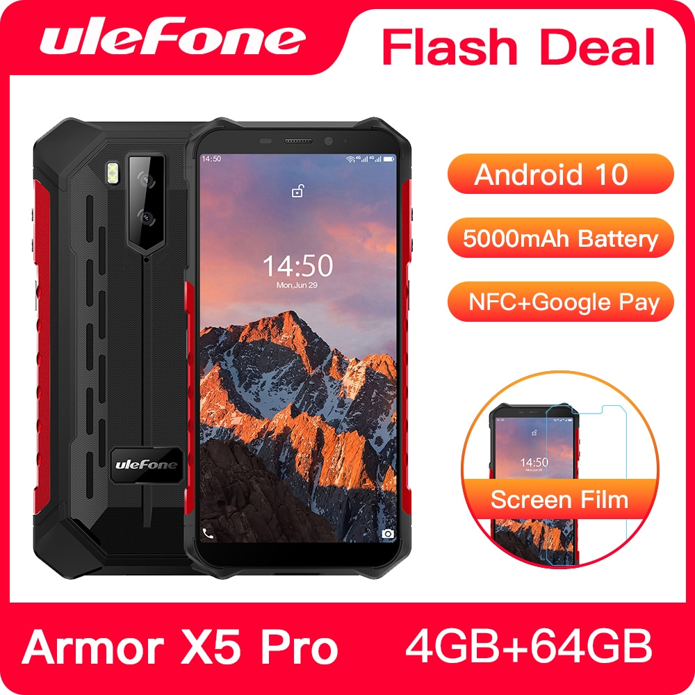 Ulefone Armor X5 Pro Android 10.0 Rugged Waterproof Smartphone 4GB+64GB Cell Phone NFC 4G LTE Mobile Phone