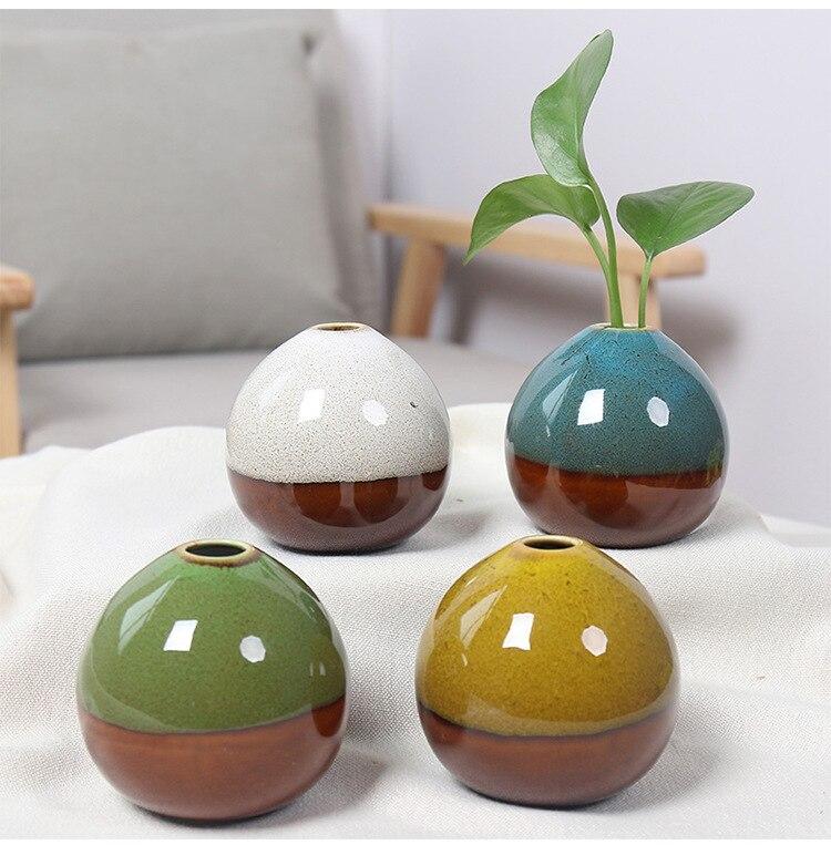 Jarrón de cerámica cambiante Kiln, arreglo de flor hidropónica, planta verde, sala de estar, TV, armario de vino, decoración moderna para el hogar