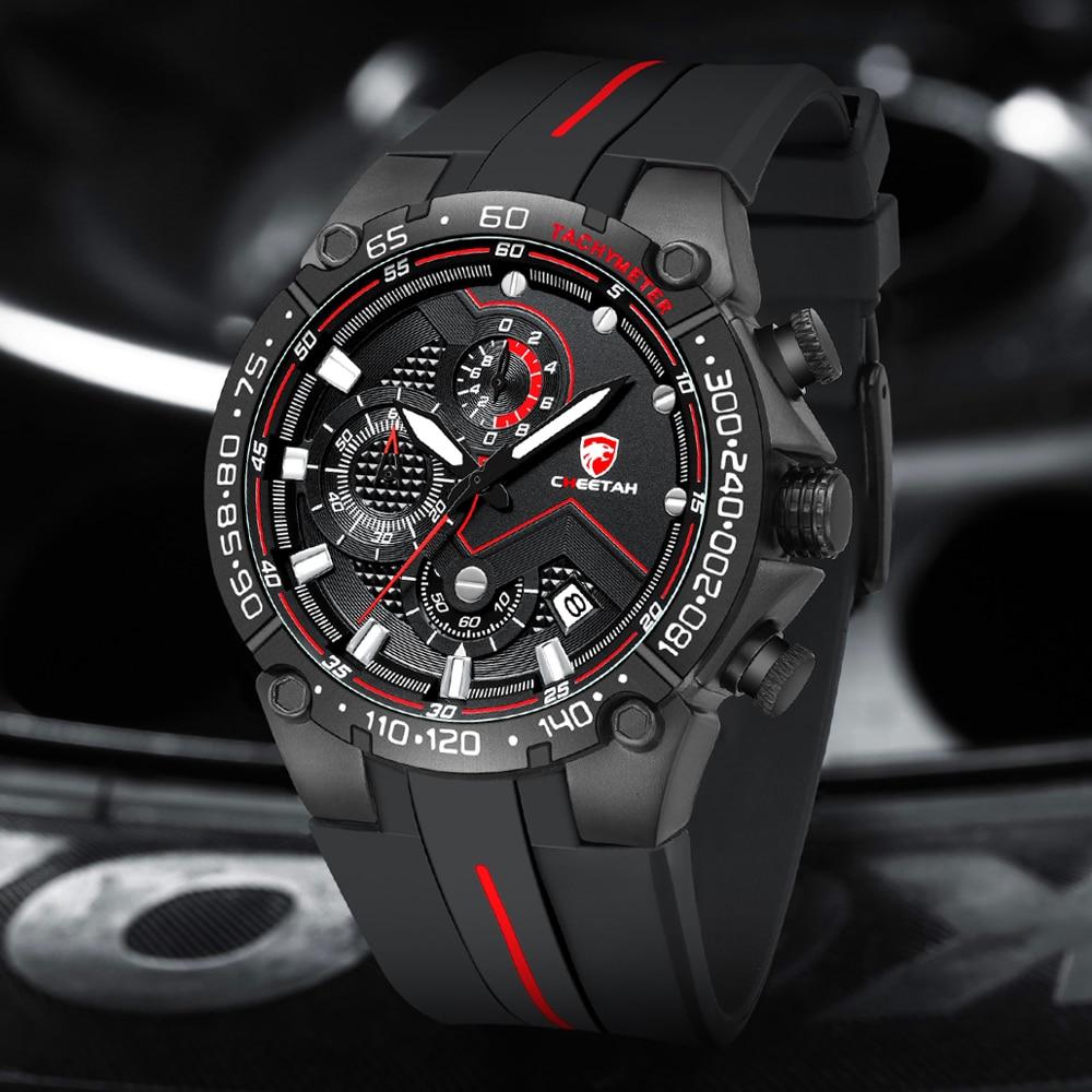 CHEETAH Men Watch Top Brand Casual Business Wristwatch Fashion Luxury Silicone Strap Sports Waterpro