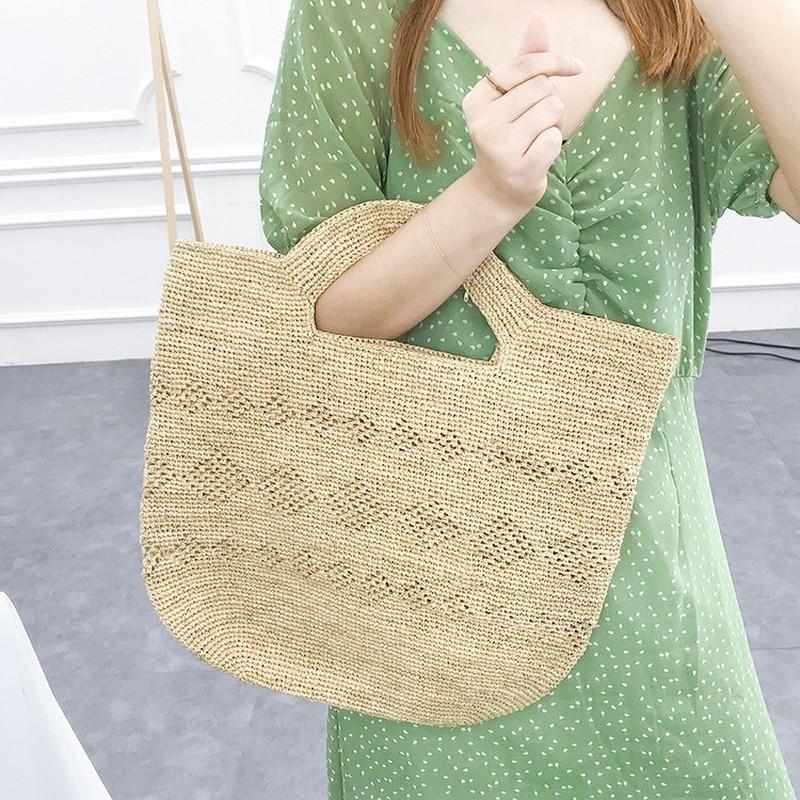 Novedad de verano, bolso tejido a mano puro de rafia natural, bolso de paja de color primario con patrón, bolso para vacaciones en la playa