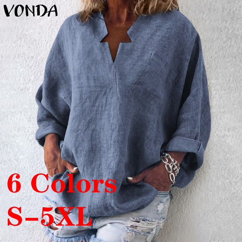 VONDA 6 Colors Vintage Blouse Women Casual Shirt 2020 Spring V-Neck Long Sleeve Tops OL Blusas Beach Women's Tunic Plus Size