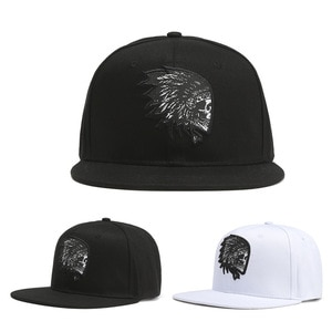 Personality Flat-Edge Hip-Hop Baseball Hat Indian Skull Embroidery Men And Women Sun Hats