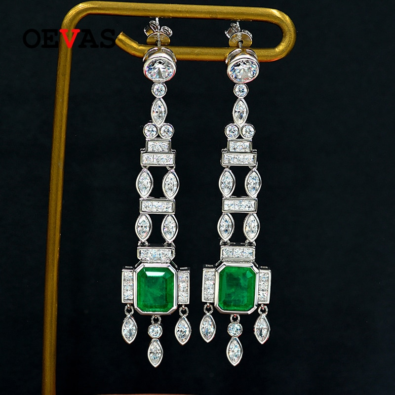 Review OEVAS 100% 925 Sterling Silver 8*10mm Synthesis Emerald High Carbon Diamond Drop Earrings For Women Sparkling Party Fine Jewelry