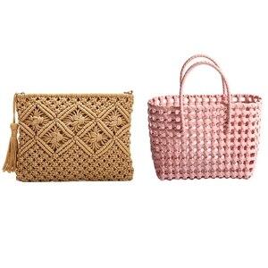 2 Pcs Bag: 1 Pcs Large Capacity Straw Bag Random Color & 1 Pcs Coin Purse Mobile Phone Bag Clutch Bag Tassel Bag Khaki