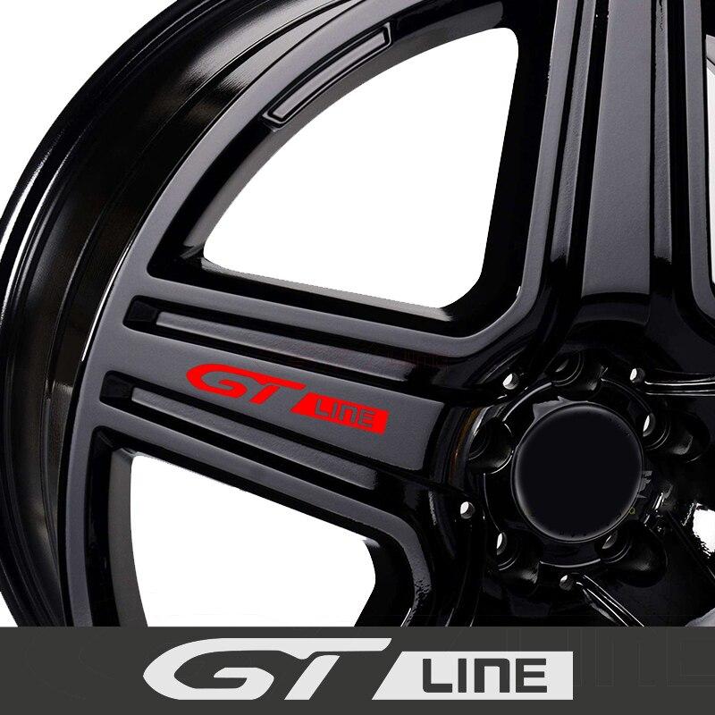 GT LINE Car Wheels Rims Stickers Decals Emblem For PEUGEOT GT 407 408 508 2008 3008 4008 5008 RIFTER Auto Car Accessories 4Pcs