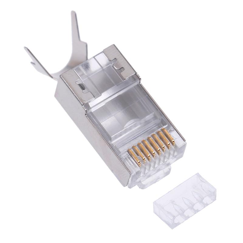 Conector de Cable Ethernet 8P8C... conector de red blindado... conector de Cable de rojo cabeza de cristal Cat7 RJ45 1,3mm plata