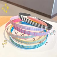 colorful plaid headband bezel hair band for women girls korean no slip hairbands sweet hair accessories opaska do wlosow 2021