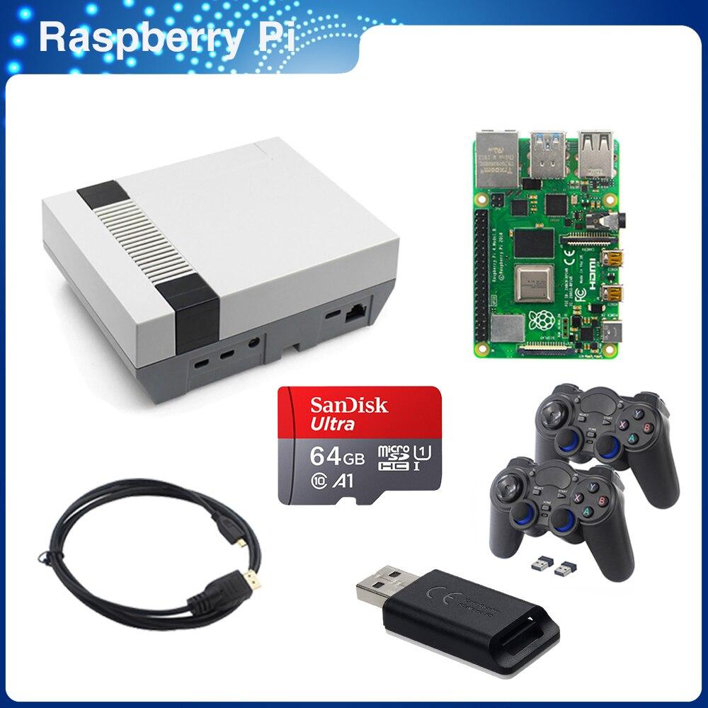 عدة ألعاب ITINIT R97 Raspberry Pi 4 موديل B 2/4/8 جيجا بايت + لوحة ألعاب لاسلكية/سلكية + بطاقة SD 64 جيجا + كابل فيديو 4 حالات Nespi