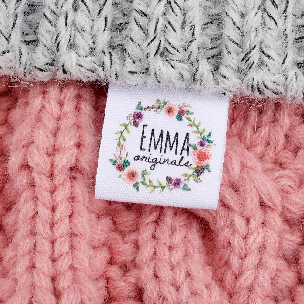 Etiquetas de costura personalizadas, pegatinas de ropa con pliegues, nombres, logotipo o texto de tela, cinta de algodón, (MD3034)