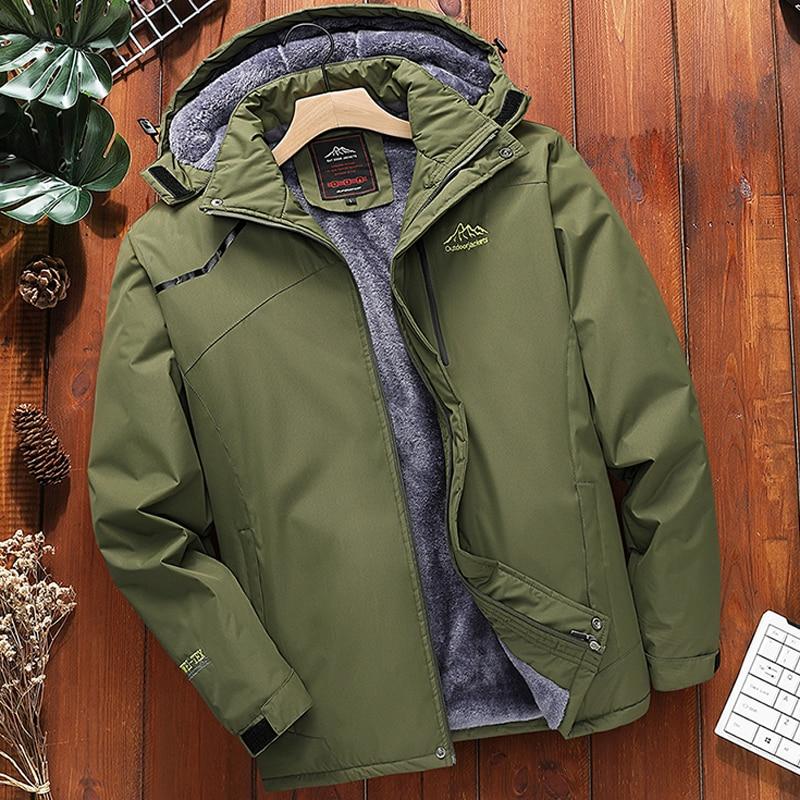 Парка мужская утепленная флисовая, горнолыжная водонепроницаемая куртка, ветрозащитный пиджак, зимнее теплое пальто для снега, большой раз...