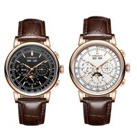 Corgeut 42 мм механические наручные часы фаза Луны rosegold часы с белым циферблатом, год день месяц неделя автоматические часы для мужчин