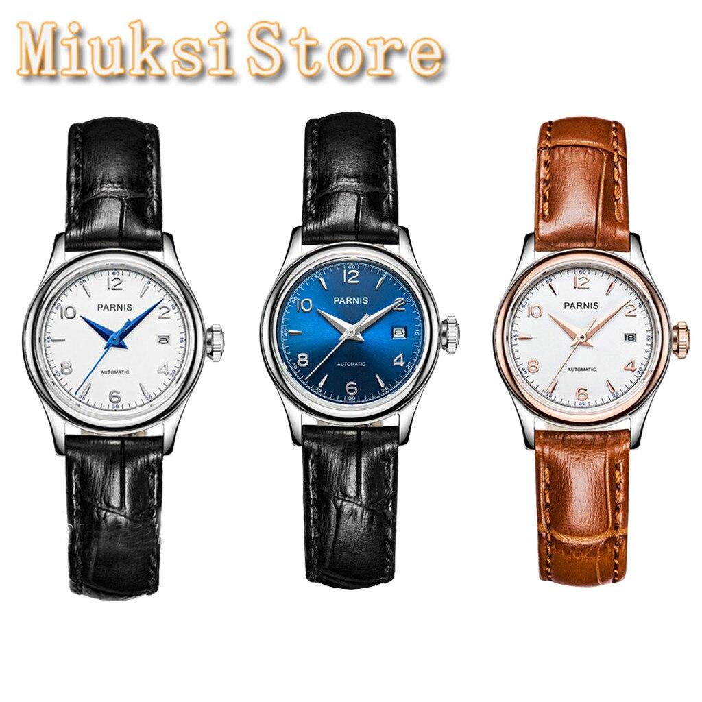 Case de Prata Relógio de Luxo Parnis Senhoras Elegante Clássico Topo Relógio Mecânico Safira Cristal 21 Jóias Miyota Movimento Feminino