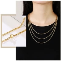 basic simple figaro chain necklaces anti allergy stainless steel metal long collar for womenminimalist chain jewelry