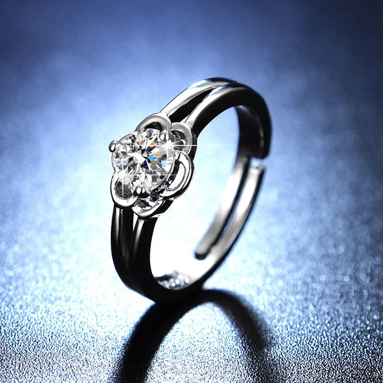 Sterling Silver 925 Engagement Ring Women Rings Flower Jewellery Diamond Rings for Women Resizable Rings