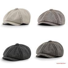 Unisex Vintage Twill Woolen Ivy Flat Cap Newsboy Striped Octagonal Beret Hat