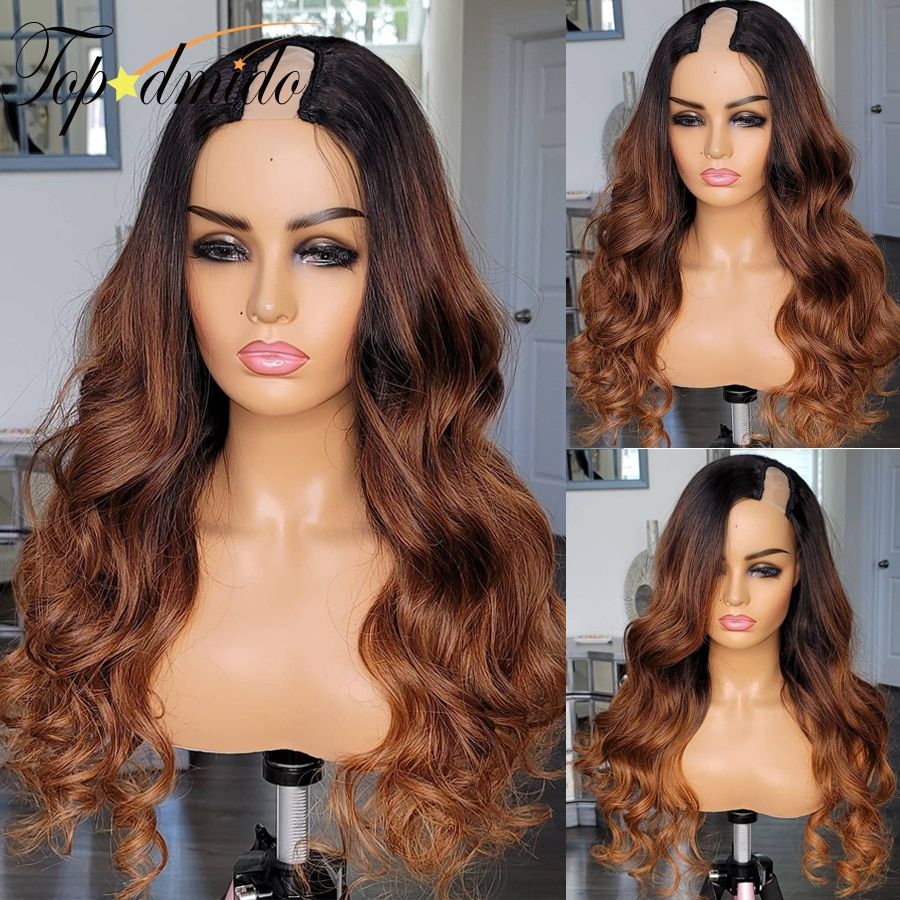 Topodmido U Part Wigs For Women Ombre Color Human Hair Wigs Brazilian Remy Hair 2*4 Size U Shape Wig