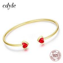 Cdyle Mini coeur rouge cristal Bracelets & Bracelets ouvert Bijoux pour femmes fille anniversaire cadeau or couleur manchette Bracelet Bijoux
