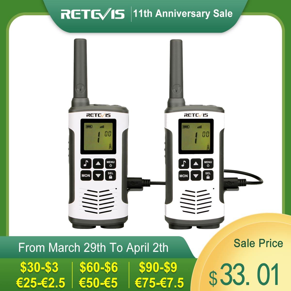 Retevis RT45 Portable Walkie Talkie 2 pcs 0.5W PMR PMR446 FRS VOX Handy Two Way Radio Emergency Family Use For Motorola TLKR T50