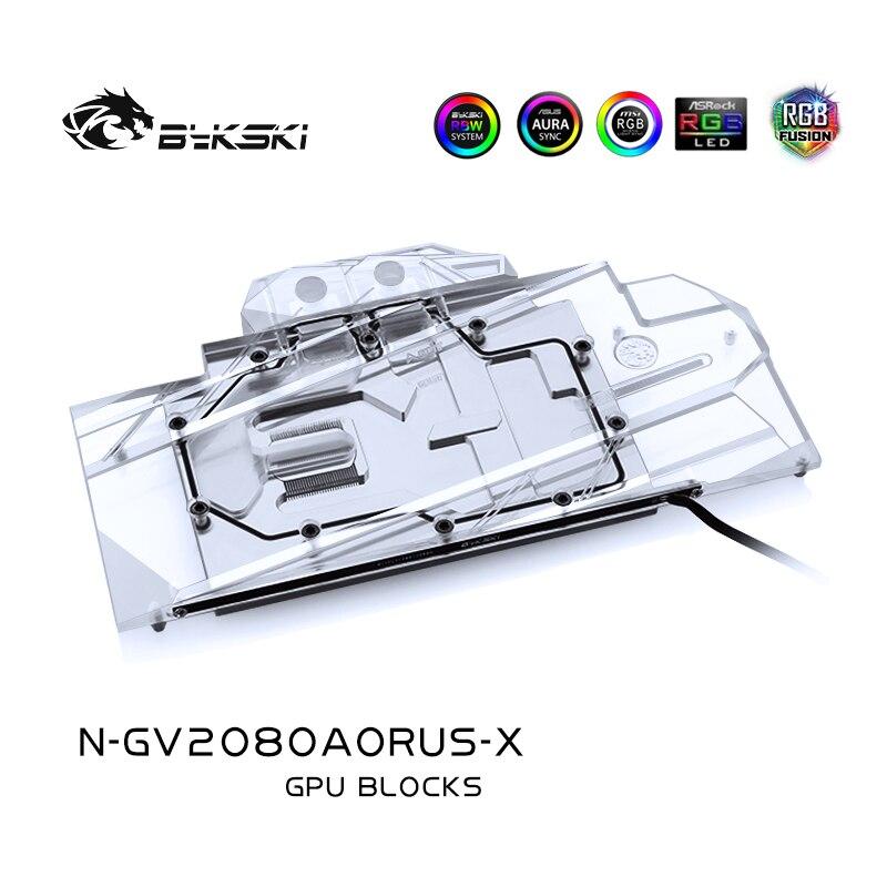Bykski-كتلة مياه لـ GIGABYTE AORUS RTX2080 Xtreme 8G / N2080AORUS /2070 ، كتلة مشعاع نحاسي كامل/RGB Light AURA
