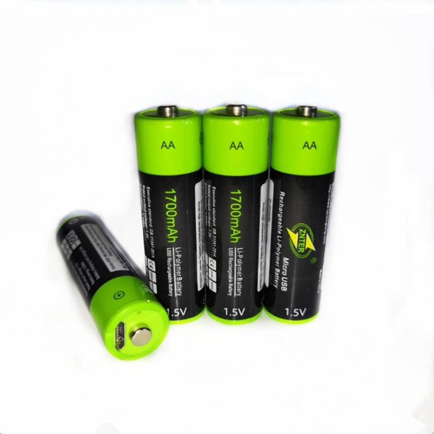 Batería recargable ZNTER 4 Uds Mirco USB AA 1,5 V 1700mAh batería de iones de litio juguete batería de polímero de litio con Control remoto