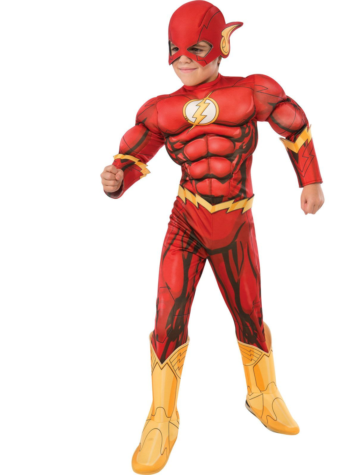 Bazzery Boy's Deluxe Flash Costume Fancy Dress Kids Fantasy Comics Movie Carnival Party Halloween Fl