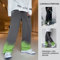boys dark high street style tie dye gradient trousers loose 2021 fall fw new drawstring hip hop trend cotton oversized trousers