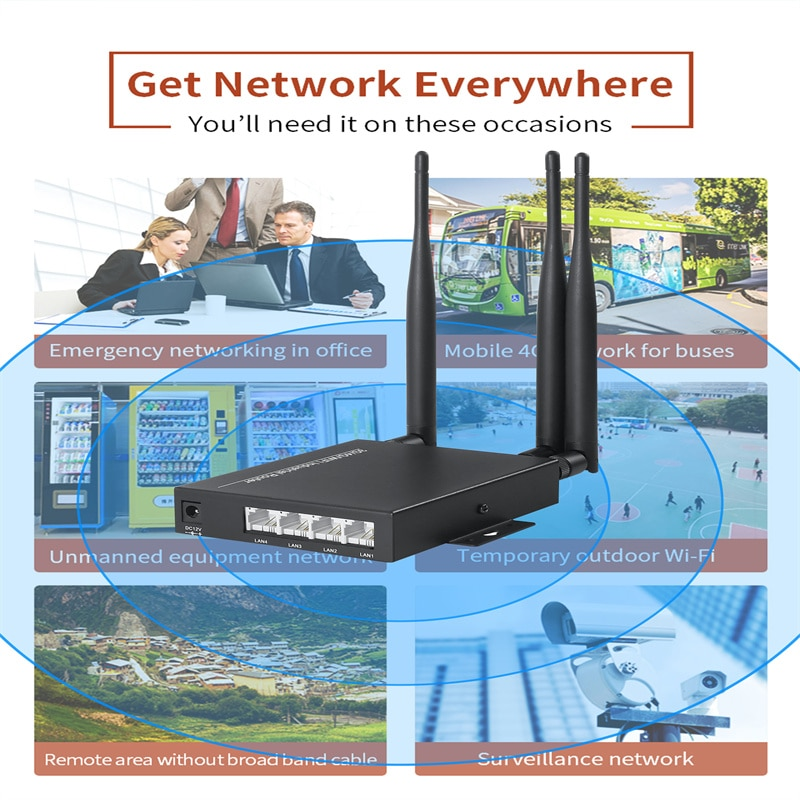 OOZEIN 3G/4G Wireless Wifi Router CPE Dual-Band 2.4GHz 300Mbps Repeater External Signal Amplifier