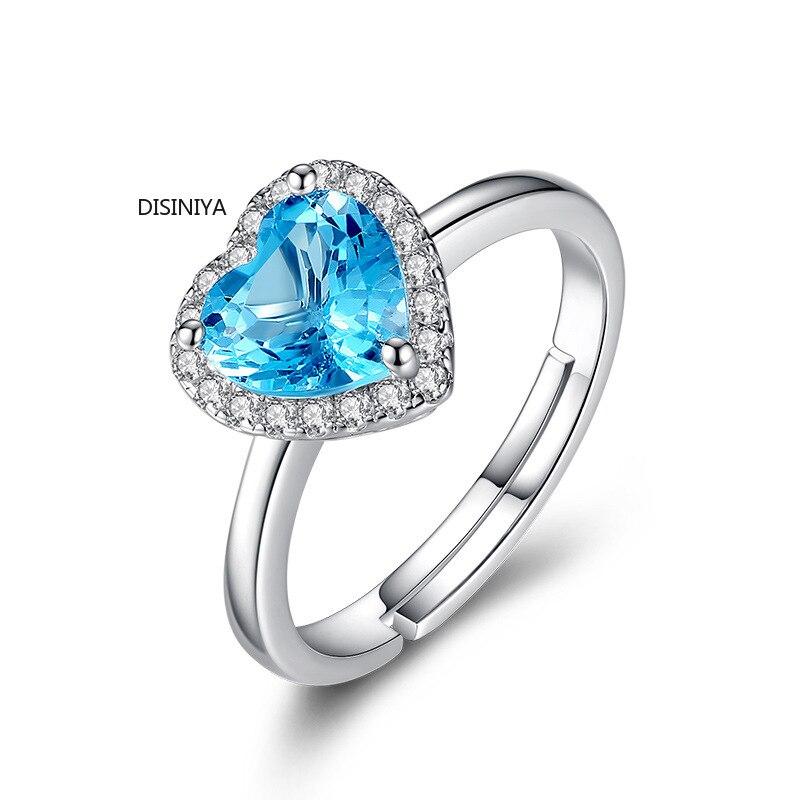 DISINIYA, corazón de amor de plata plateado, anillo abierto en vivo, Gema azul femenina, corazón de mar, cristal romántico, apertura, anillo de cobre, venta al por mayor, JZ480