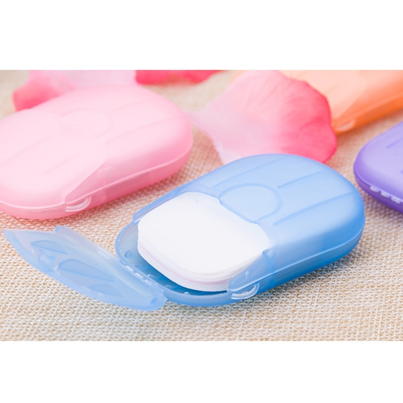 Sabonete de limpeza descartável, caixa portátil de sabonete para viagem, mini caixa de sabonete de cor aleatória