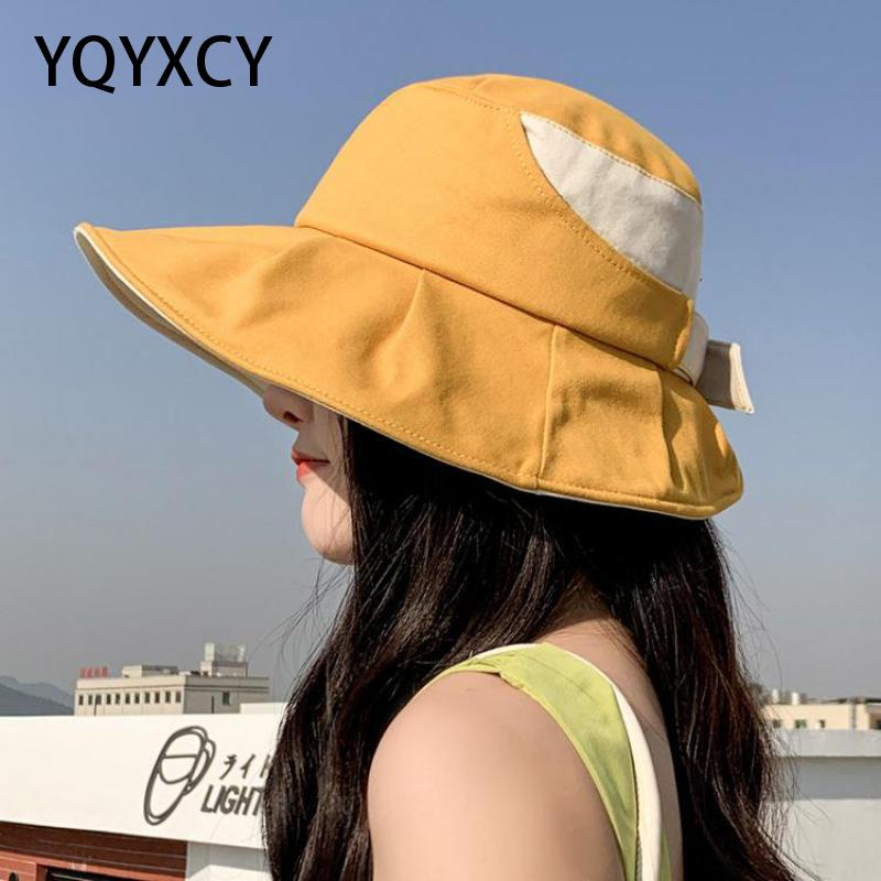 YQYXCY Summer Hat Women Sun Protection Folding Sunshade Korean Fisherman Cap Beach Hat Female Floppy Sunhat Sun Protection Gorro braided tassel floppy felt hat