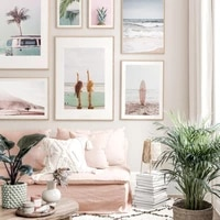 nordic sea beach landscape wall art canvas painting surf girl green palm leaf pineapple blue bus poster decorative pictures