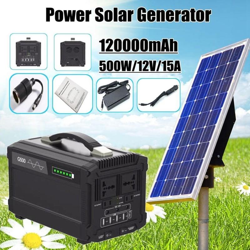 120000mAh 220V 500W deportes y ocio de estación de generador de energía Solar Banco de energía de batería Camping emergencia inversor DC AC LED
