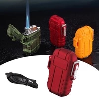 waterproof gas lighter for outdoor camping inflatable butane cigarette lighter windproof blue flame lighter for man