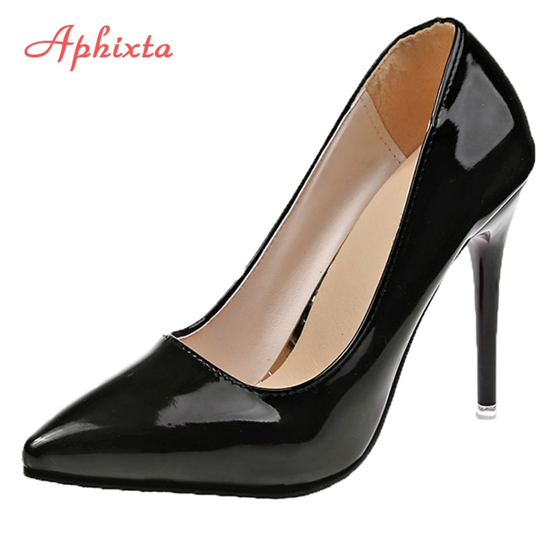 Aphixta 11.5cm Office Thin Heels Pumps Women Shoes Pointed Toe Patent Leather Wedding Dress Shoes Wo