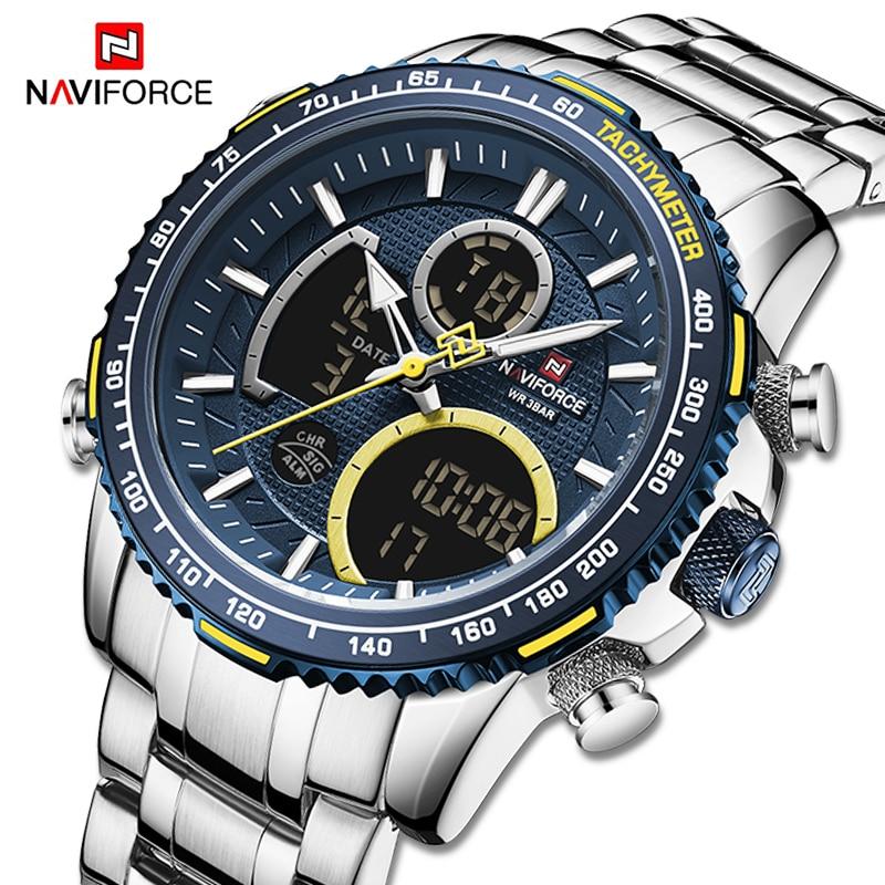 Relojes de marca NAVIFORCE de lujo para hombre, reloj de pulsera LED Digital deportivo de cuarzo, reloj impermeable para hombre, reloj Masculino