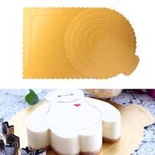 Planches à gâteaux rondes/carrées en or   8 pouces, carton jetable, couches gâteau fond de Pizza 1 pièces 25*25cm outils pour gâteaux