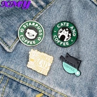 cats coffee enamel pin custom pug puppy cat cafe brooches badges bag shirt lapel pin buckle cute animal jewelry gift for friends
