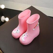 Bottes de pluie antidérapantes pour enfants, en caoutchouc et amovibles, chaussures licorne de dessin animé, pour bébés, garçons et filles
