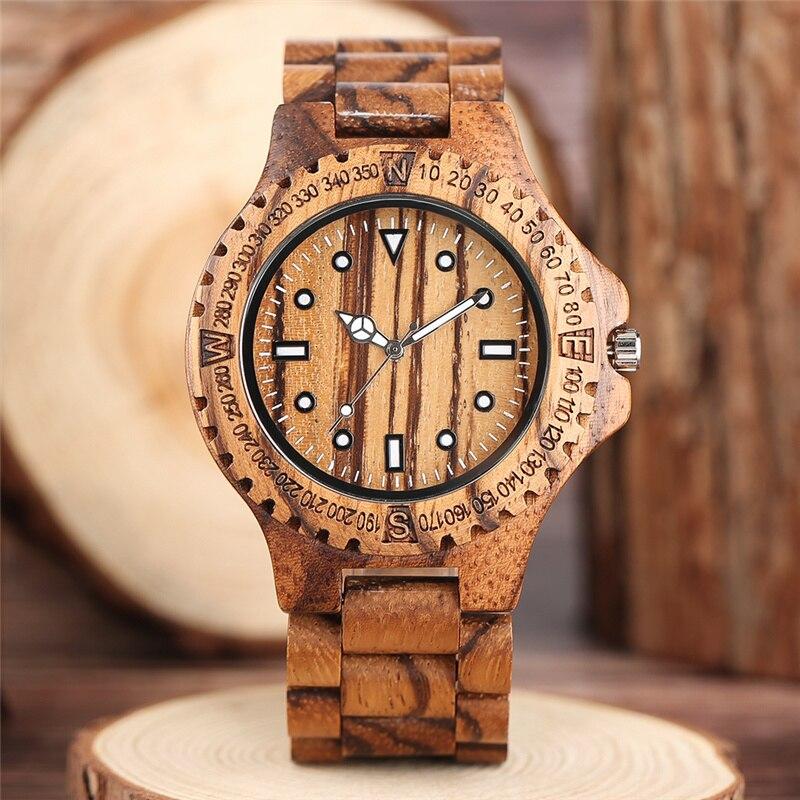 Деревянные часы ручной работы, светящиеся стрелки, мужские Кварцевые аналоговые наручные часы, спортивные часы, полностью деревянные зерка...