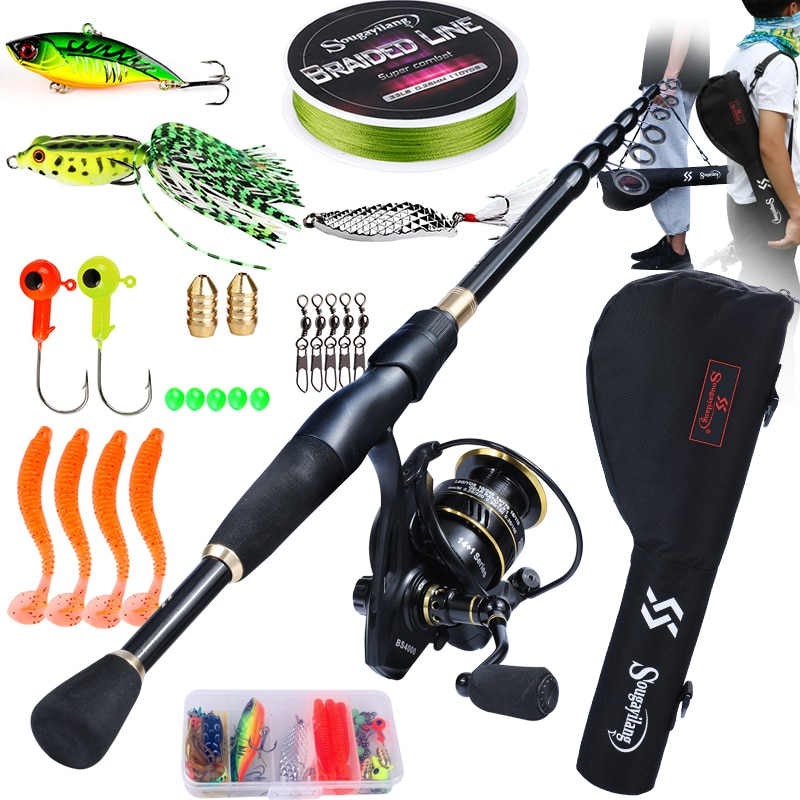 high quality 1 65m telescopic lure rod set casting spinning rod fishing reel fishing rod reel line lures hooks portable bag Sougayilang Fishing Rod Full Kits with Telescopic Fishing Rod and Spinning Reel Baits Hooks and Fishing Line Bag Travel Rod Set