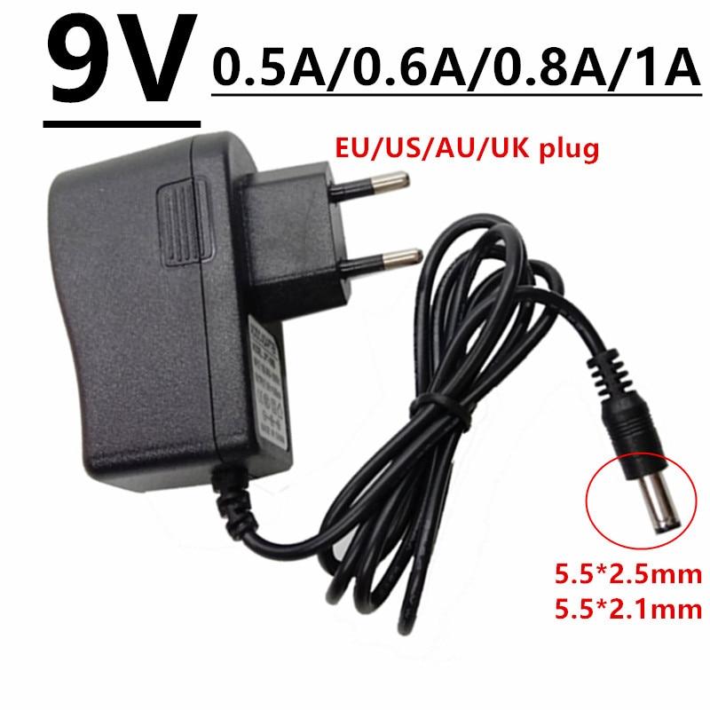 Adaptador de corriente Universal, fuente de alimentación de 9V, dc5.5 mm, 0.5A, 0.6A, 0.8A, 1A, CA/CC, 500mA, 600mA, 800mA, 1000mA, EU, US, UK, AU