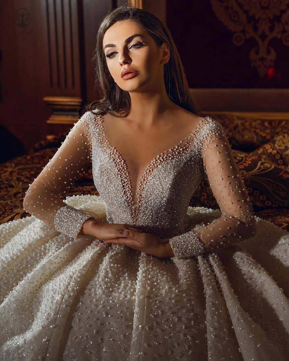 فستان زفاف فاخر مزين باللؤلؤ ، أكمام طويلة ، دانتيل ، مقاس كبير ، وهم الرقبة ، ثوب الكرة ، فستان الزفاف العربي ، 2021